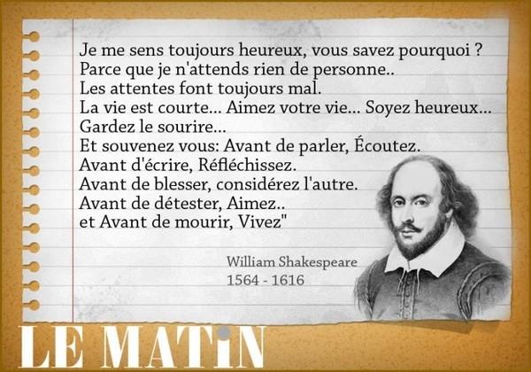 Citation William Shakespeare Sur Le Bonheur